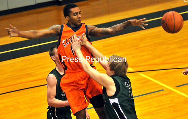 Thursday, February 7, 2013. North Country Community College clinched a region III playoff berth with a 75-57 win over Clinton Community College at CCC. <br /><br />(P-R Photo/Rob Fountain)