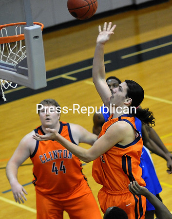 Friday, January 17, 2014. Clinton Community College men's team play Fulton-Montgomery Thursday January 16 2014 during mens basketball action in Plattsburgh. <br /><br />(P-R Photo/Rob Fountain)