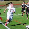 Sunday, October 12, 2014. Clinton Community College plays Broome Community College in men's soccer Sunday at SUNY Plattsburgh's Field house. <br /><br />(P-R Photo/Rob Fountain)