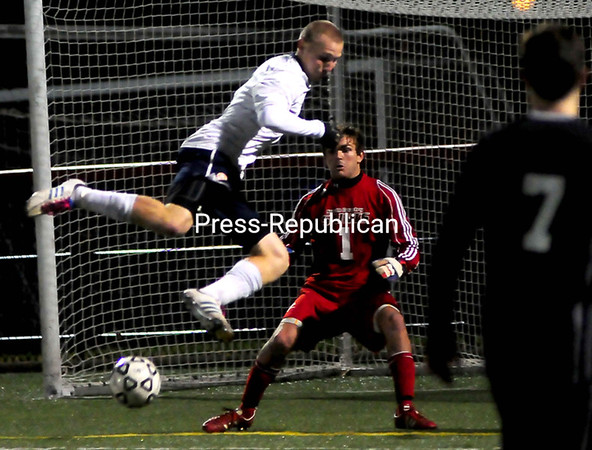 Tuesday, October 16, 2012. The Cougars and Saints played to a 2-2 draw in Tuesday's men's college soccer game. <br /><br />(P-R Photo/Rob Fountain)