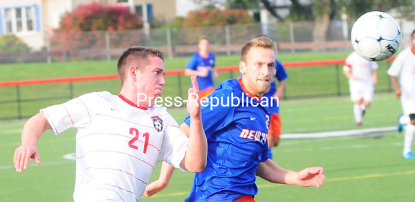 Saturday, October 6, 2012. In a SUNY Athletic Conference mens' soccer contest Friday, Oct. 5, 2012, Plattsburgh State rolled over Oneonta 4-0. <br /><br />(P-R Photo/Rob Fountain)