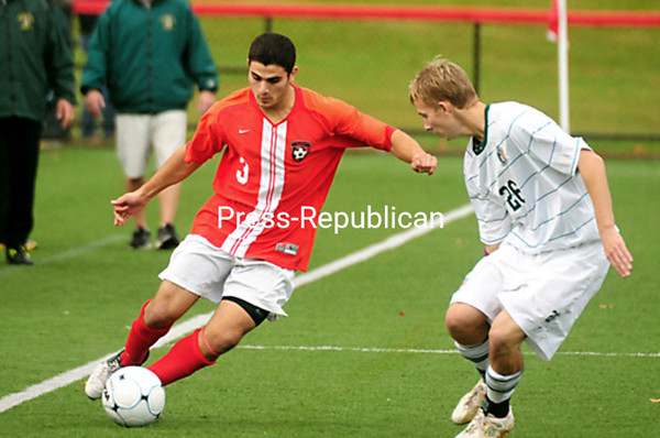 Saturday, October 20, 2012. The Cardinals defeated the Golden Eagles, 2-1, in overtime to capture the SUNYAC regular season title at Saturday's SUNY Athletic Conference men's soccer game. <br /><br />(P-R Photo/Rob Fountain)