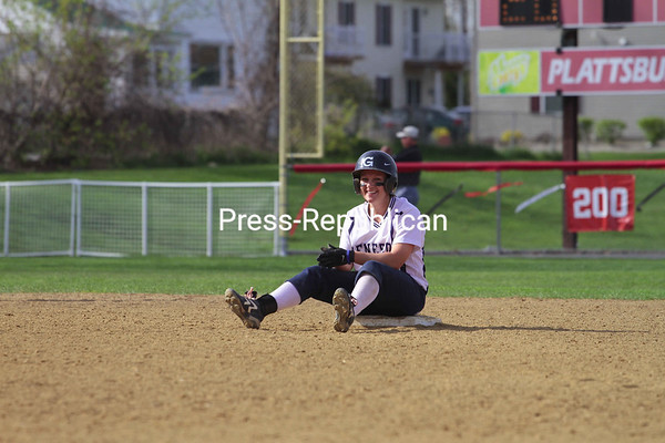 Saturday, April 24, 2010. Women's softball at Cardinal Park. the Cardinals won Game 1 while Geneseo won Game 2.<br><br>(P-R Photo/Gabe Dickens)