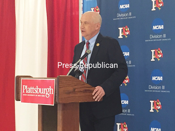 JOEY LAFRANCA/STAFF PHOTO<br /> Plattsburgh State Director of Athletics Mike Howard speaks during a press conference Tuesday in the Plattsburgh State Field House lobby.