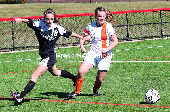 Sunday, October 12, 2014. Clinton Community College plays Broome Community College in women's soccer Sunday at SUNY Plattsburgh's Field house. <br /><br />(P-R Photo/Rob Fountain)