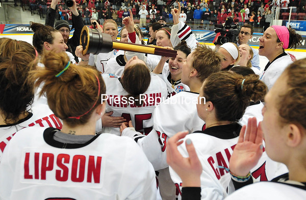 Saturday, March 22, 2014. Plattsburgh State plays against Norwich University Saturday March 22, 2014 during the NCAA Division III Women's Ice Hockey Championship at the fieldhouse. Plattsburgh defeated Norwich 9-2 to win the the third time.  <br /><br />(P-R Photo/Rob Fountain)