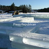 Thursday, January 21, 2010. Crews cut and lay blocks of ice for the Saranac Lake Winter Carnival Ice Palace.<br><br>(Staff Photo/Kim Smith Dedam)