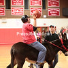 Saturday, November 15, 2014. Saranac Lake High School students, faculty and alumni compete in a friendly game donkey basketball in conjuction with Green Mountain Donkeyball based in Danby, VT, at Saranac Lake High School Saturday evening. The event served as a fundraiser for the school's after prom party. <br /><br />(P-R Photo/Gabe Dickens)