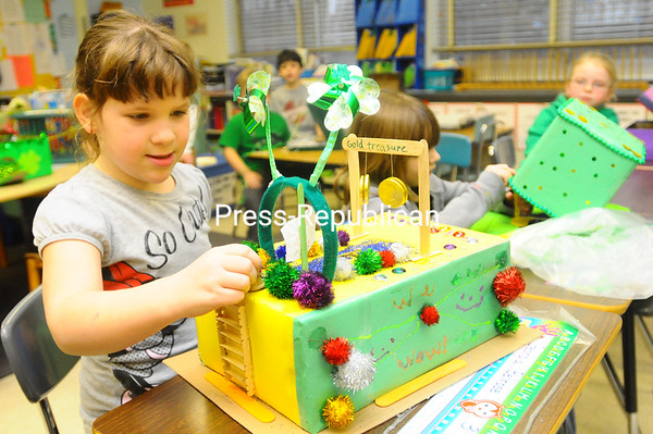 Wednesday, March 14, 2012. Every year, the leprechauns at Chazy Elementary School cause mischief and leave behind an awful mess, so first-graders built traps to try to catch them. <br /><br />(Staff Photo/Kelli Catana)