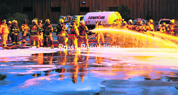 Water is colored by the glow of flames during the Emergency Response to Ethanol Incidents training earlier this year.