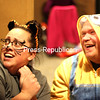 Morgan Stanton and Jenna Kemp of Plattsburgh have a great time being scared. Mike Pitts/P-R PHOTO)
