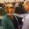 Thursday, March 17, 2011. Celine Racine-Paquette accepts the  honor this year at the 53rd annual St. Patrick's Day Breakfast hosted by the Plattsburgh-North Country Chamber of Commerce.<br><br>(Staff Photo/Kelli Catana)