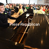 Jay Lesage plays a few Irish tunes with Kelly Donoghue (not pictured) singing Thursday during the 58th-annual St. Patrick's Day Breakfast in the College Angell Center in Plattsburgh. <br /> (ROB FOUNTAIN/STAFF PHOTO)  3-18-16