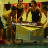 Plattsburgh High School students participate in a boat race using cardboard boats for a Physics class.<br><br>(Staff Photo/Kelli Catana)