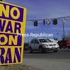 Sunday, March 22, 2009. A small group of war protesters gathered at the corner of Smithfield Blvd. and Route 3 in Plattsburgh. <br><br>(P-R Photo/Rachel Moore)