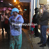 Saturday, October 25, 2014. Despite heavy rain, about 170 people turned out in creepy costumes to march in the sixth-annual Plattsburgh Zombie Walk through downtown Plattsburgh. Though the event was free, about $125 was raised in donations to support the ROTA Studio and Gallery and 30 City Downtown Community And Visitors Center. The event kicked off with a performance of Michael Jackson's
