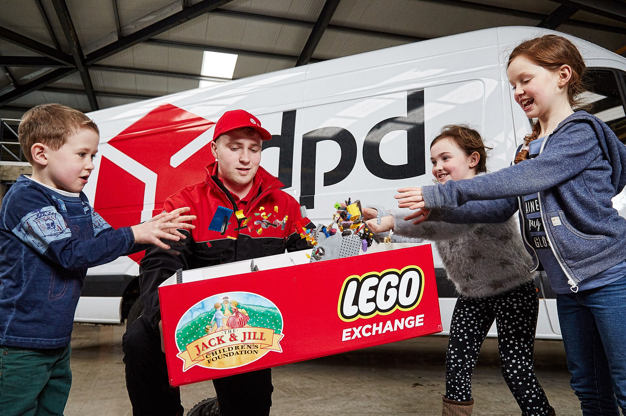 Pictured at DPD Ireland in Athlone making their Lego donation to the Jack & Jill Lego Appeal:   Francis Bradley DPD Operations Team  Donagh Teirney (6) from Birr Therese Farrell (9) from Athlone Sorcha Tierney (9) from Birr  Jack & Jill Children's Foundation asks people to donate or sell their unwanted Lego blocks to them to convert into funding for home nursing care for sick children nationwide  The children were making their Lego donations as part of a new Lego Appeal from Jack & Jill who are now collecting loose Lego as a new 'currency' to fund home nursing care for children from birth to 4 years old with severe to profound disabilities supported by the charity across the country.  The charity is urging families, preschools, schools and businesses across the country to donate or to sell their unwanted Lego to Jack & Jill who will sell it on and use the funds raised to fund home nursing care hours for sick children.   What Jack & Jill is looking for is loose Lego; no need for complete sets or boxes, and people can donate the Lego via DPD Ireland's 38 depots around the country, with locations listed on www.dpd.ie and www.jackandjill.ie.  But the charity is asking people to make sure that it is real Lego they donate and not the cheaper, plastic versions, reminding everyone that all Lego blocks clearly have the Lego brand marked on each piece. Alternatively, people can donate or sell the Lego via one of Jack & Jill's six Charity Boutiques located in Arklow, Carlow, Crookstown, Naas, Newbridge and Wicklow, with the charity buying the Lego for €4 per kilo. Every €16 raised through this Jack & Jill's Lego Appeal will fund one hour of home nursing care for a sick child.  The charity has supported nearly 2,000 children nationally with home nursing care, including 44 children in Westmeath and 28 in Offaly and 477 in Dublin, with full county breakdown on www.jackandjill.ie  Ends. Further information:  Carmel Doyle, Jack & Jill 087 2473537 About Jack & Jill – the Jack & Jill