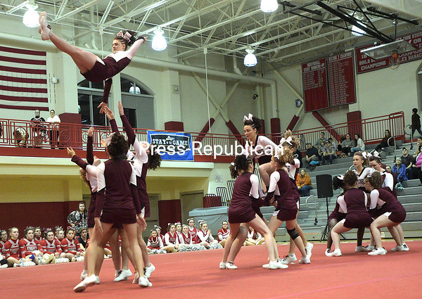 """Northeastern Clinton Central School cheerleaders run through one of their winning routines recently during the Champlain Valley Athletic Conference Section VII State Qualifer Cheerleading Comprtition at Beekmantown High School. The Cougars finished in first place for the Small Varisty Division and were the overall winners. See bonus photos from the event at  <a href=""""http://www.pressrepublican.com"""">http://www.pressrepublican.com</a>. <br /> ROB FOUNTAIN/STAFF PHOTO"""