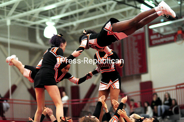 Plattsburgh High School cheerleaders took first place in the Co-Ed divisionrecently during the Champlain Valley Athletic Conference Section VII State Qualifer Cheerleading Comprtition at Beekmantown High School.<br /> ROB FOUNTAIN/STAFF PHOTO