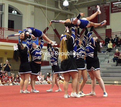 Peru Central School cheerleaders compete recently during the Champlain Valley Athletic Conference Section VII State Qualifer Cheerleading Comprtition at Beekmantown High School.<br /> ROB FOUNTAIN/STAFF PHOTO