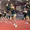 Northern Adirondack High School Cheeleaders run through a rountine recently during the Champlain Valley Athletic Conference Section VII State Qualifer Cheerleading Comprtition at Beekmantown High School. NAC took first place in the  Longest Held Extension Stunt Groups.<br /> ROB FOUNTAIN/STAFF PHOTO