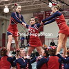 Saturday, March 1, 2014. Section VII cheerleading teams converged at Beekmantown Central School Friday evening for the annual Cheerleading Competition. For the seventh straight year, Northeastern Clinton took first, with Beekmantown in second and Moriah placing third. <br /><br />(P-R Photo/Gabe Dickens)