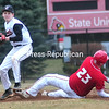 Wednesday, April 23, 2014. Plattsburgh plays Saranac during CVAC Baseball action at Chip Cummings Field in Plattsburgh Tuesday April 22, 2014. <br /><br />(P-R Photo/Rob Fountain)