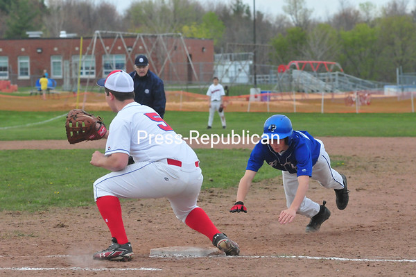 Tuesday, May 1, 2012. Peru rallied for 3 runs in the sixth inning to defeat AuSable Valley 8-6 in CVAC baseball Monday, April 30, 2012. <br /><br />(Staff Photo/Kelli Catana)