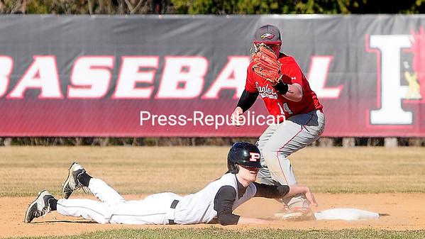 ROB FOUNTAIN/STAFF PHOTO 4-14-2016<br /> Plattsburgh High plays Beekmantown Wednesday in boys baseball at Chip Cummings Field in Plattsburgh.