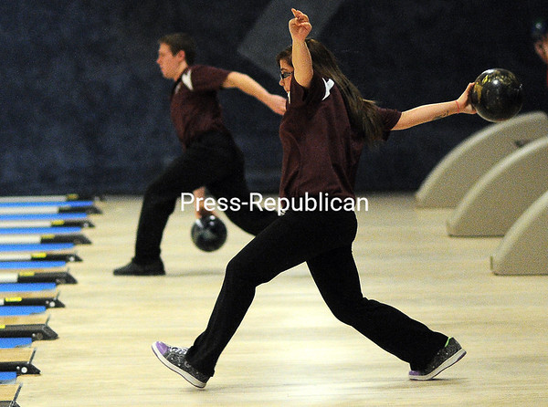 Monday, December 8, 2014. Plattsburgh plays Chateaugay in girls bowling Monday at North Bowl Lanes in Plattsburgh.  <br /><br />(P-R Photo/Rob Fountain)