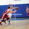 Wednesday, February 26, 2014. Westport and Schroon Lake face off during Wednesday's Section VII Class D semifinal boys' basketball game at Ausablve Valley Central School. <br /><br />(P-R Photo/Gabe Dickens)