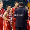 Friday, March 14, 2014. The Moriah Vikings faced off against the New York Mills Marauders in the NYSPHSAA Class D semifinal boys' basketball match at the Glens Falls Civic Center Friday afternoon. (P-R Photo/Gabe Dickens)