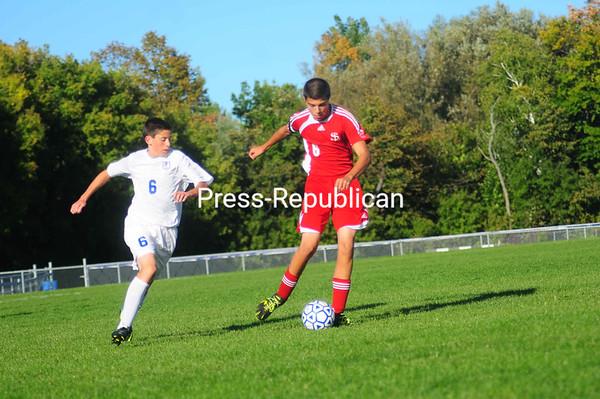 Monday, September 24, 2012. Northeastern Clinton defeated Plattsburgh, 4-1, in Northern Soccer League boys' soccer Monday. <br /><br />(Staff Photo/Kelli Catana)
