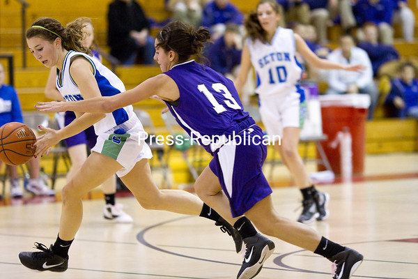 Saturday, December 10, 2011. Ticonderoga High School vs. Seton Catholic High School in Plattsburgh.  Seton won 43-37. <br /><br />(P-R Photo/Gabe Dickens)