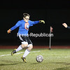 Thursday, October 9, 2014. The Ausable Valley Patriots handed the Saranac Chiefs their first loss of the season in a 5-4 victory Wednesday evening in Northern Soccer League action at Ausable Valley Central School. <br /><br />(P-R Photo/Gabe Dickens)