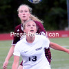 Tuesday, September 16, 2014. Plattsburgh High School plays Northeastern Clinton in CVAC girls soccer Monday at Plattsburgh Sports Complex. <br /><br />(P-R Photo/Rob Fountain)