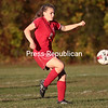 Saturday, September 28, 2013. Saranac Lake clashes with Beekmantown in a Northern League girl's varsity soccer game at Beekmantown Recreation Park Friday. The Eagles won by a score of 7-0. <br /><br />(P-R Photo/Gabe Dickens)