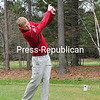ROB FOUNTAIN/STAFF PHOTO  5-5-2016<br /> Northeastern Clinton's Matthew Snide tees offat Adirondack Golf Course in Peru.