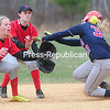 ROB FOUNTAIN/STAFF PHOTO  5-5-2016<br /> AuSable Valley plays Saranac Lake in girls softball Wednesday in Clintonville.