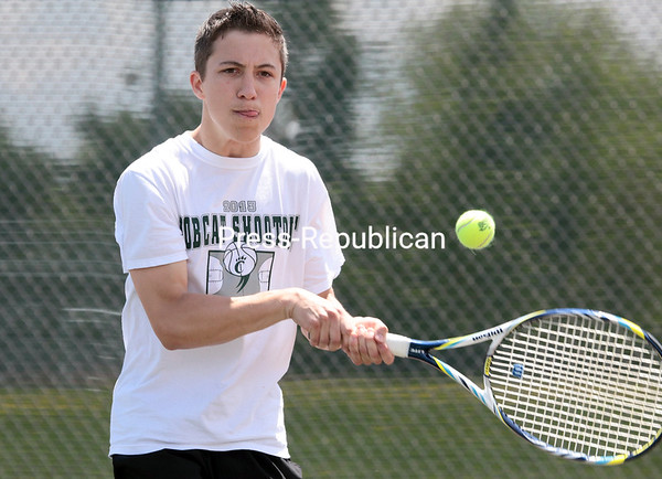 Saturday, May 24, 2014. Section VII quarterfinal boys' doubles tennis match Saturday afternoon at Plattsburgh High School. <br /><br />(P-R Photo/Gabe Dickens)