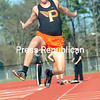 ROB FOUNTAIN/STAFF PHOTO  5-12-2016<br /> Northeastern Clinton plays Plattsburgh High Tuesday during a CVAC track meet in Plattsburgh.