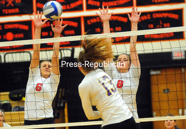 Tuesday, November 6, 2012. The Patriots fell, 3-0, against Voorheesville in Tuesday's Class C volleyball sub-regional finals at Plattsburgh High School. <br /><br />(P-R Photo/Rob Fountain)