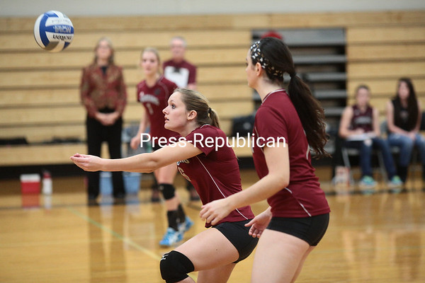 Friday, November 1, 2013. Northeastern Clinton battles Plattsburgh High for a chance to move on to the Section VII Class C championship volleyball game during Thursday's match at Plattsburgh High School. <br /><br />(P-R Photo/Gabe Dickens)