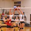 Monday, October 22, 2012. PHS won 3-1 against Saranac in CVAC volleyball play Monday in Plattsburgh. <br /><br />(Staff Photo/Kelli Catana)