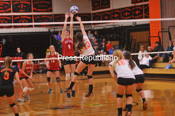 Monday, October 22, 2012. PHS won 3-1 against Saranac in CVAC volleyball play Monday in Plattsburgh. <br /><br />(Staff Photo/Kelli Catana)