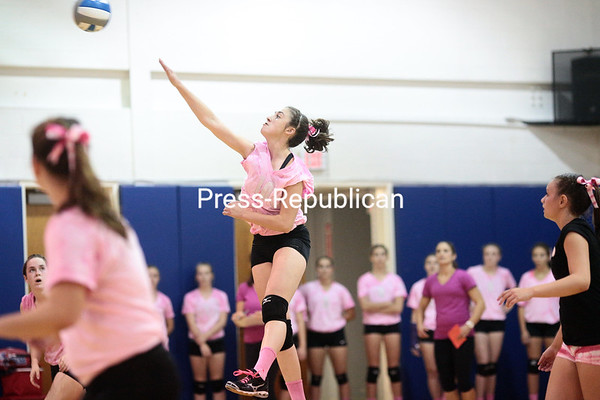 Thursday, October 3, 2013. Beekmantown takes on Ausable Valley in a Champlain Valley Athletic Conference girls' varsity volleyball game at Ausable Valley Central School. <br /><br />(P-R Photo/Gabe Dickens)