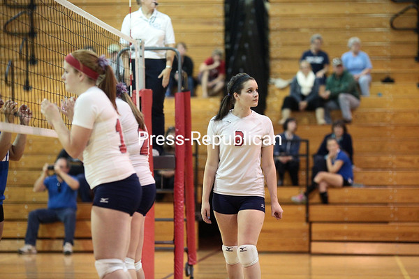 Thursday, September 26, 2013. The Ausable Valley Patriots take on the Peru Indians in a Champlain Valley Athletic Conference varsity volleyball game at Ausable Valley Central School Thursday. The Patriots defeated the Indians. <br /><br />(P-R Photo/Gabe Dickens)