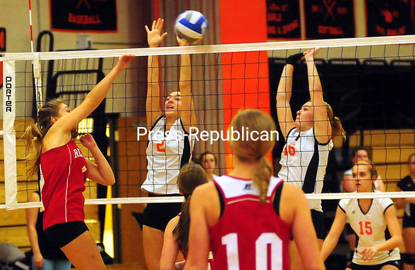 Wednesday, October 31, 2012. The Hornets scored 3-1 against the Patriots at a Section VII Class C volleyball semifinal Wednesday.  <br /><br />(P-R Photo/Rob Fountain)