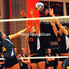 Wednesday, October 24, 2012. The Hornets defeated the Bobcats, 3-0 in Wednesday's CVAC volleyball match. <br /><br />(P-R Photo/Rob Fountain)