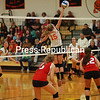 Monday, September 10, 2012. Champlain Valley Athletic Conference volleyball match. The Hornets took a 3-0 victory. <br /><br />(Staff Photo/Kelli Catana)